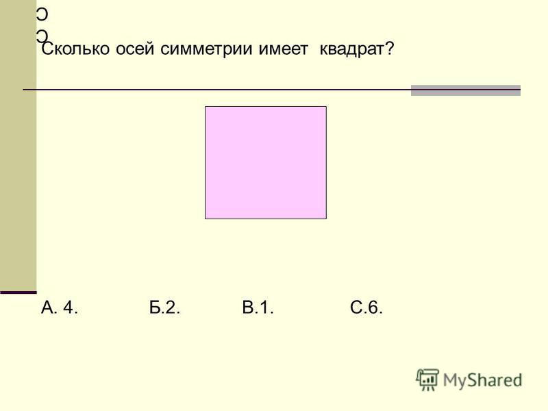 СССс СсСССс Сс Сколько осей симметрии имеет квадрат? А. 4. Б.2. В.1. С.6.