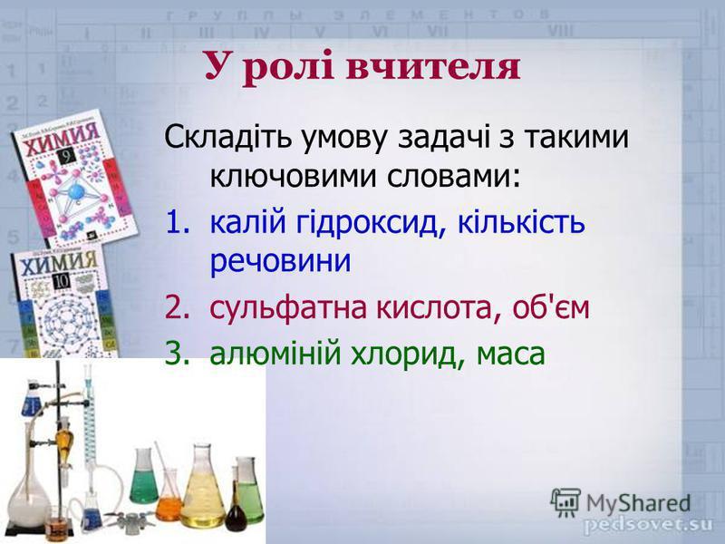 У ролі вчителя Складіть умову задачі з такими ключовими словами: 1.калій гідроксид, кількість речовини 2.сульфатна кислота, об'єм 3.алюміній хлорид, маса