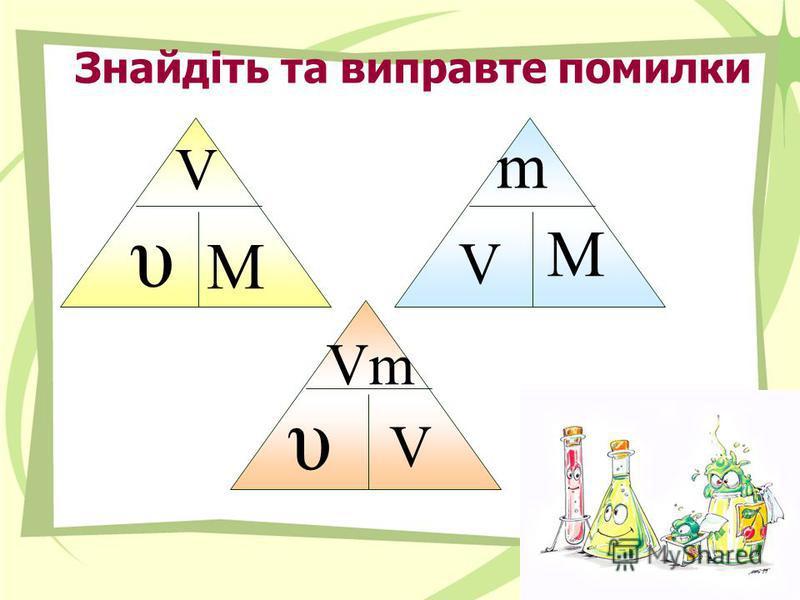 Знайдіть та виправте помилки υ m M Vm V V M υ V