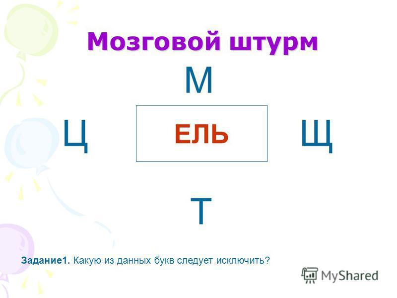 Мозговой штурм ЕЛЬ Ц М Т Щ Задание 1. Какую из данных букв следует исключить?