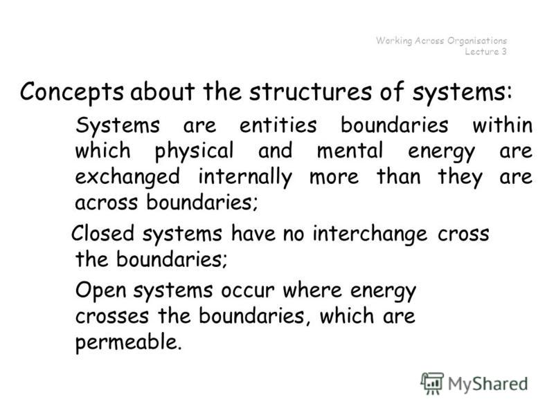 Working Across Organisations Lecture 3 Concepts about the structures of systems: Systems are entities boundaries within which physical and mental energy are exchanged internally more than they are across boundaries; Closed systems have no interchange
