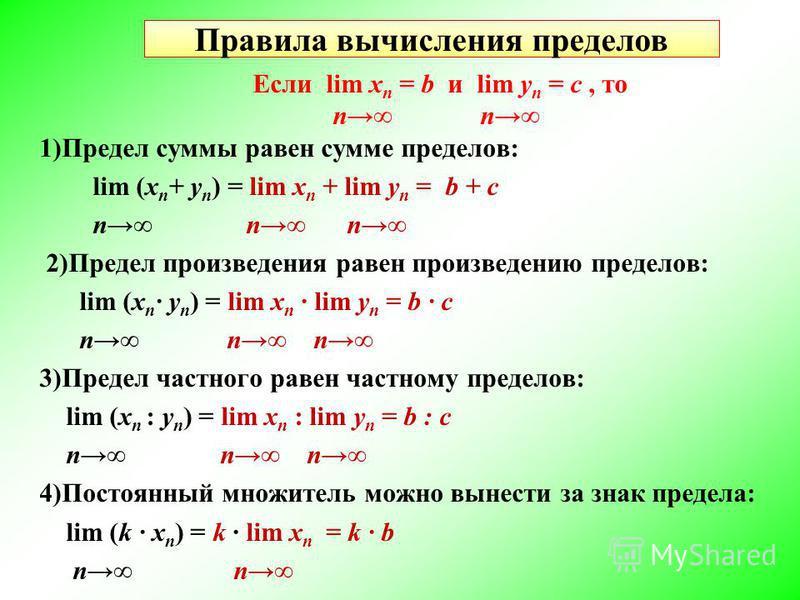 Правила вычисления пределов Если lim х n = b и lim у n = c, то n n 1)Предел суммы равен сумме пределов: lim (х n + у n ) = lim х n + lim у n = b + c n n n 2)Предел произведения равен произведению пределов: lim (х n · у n ) = lim х n lim у n = b · c n