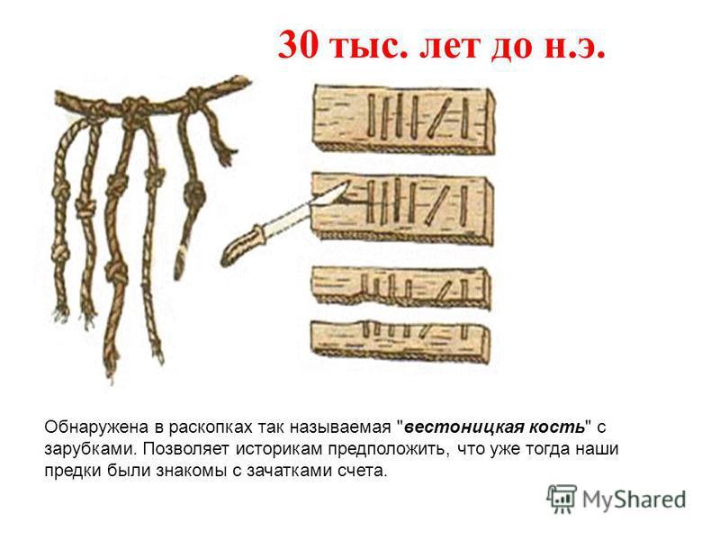 Обнаружена в раскопках так называемая вестоницкая кость с зарубками. Позволяет историкам предположить, что уже тогда наши предки были знакомы с зачатками счета. 30 тыс. лет до н.э.