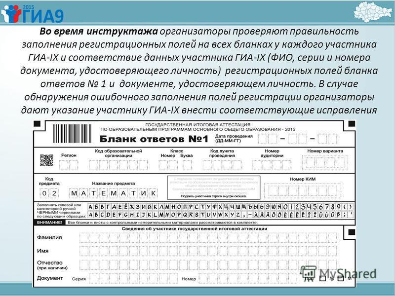 Во время инструктажа организаторы проверяют правильность заполнения регистрационных полей на всех бланках у каждого участника ГИА-IX и соответствие данных участника ГИА-IX (ФИО, серии и номера документа, удостоверяющего личность) регистрационных поле