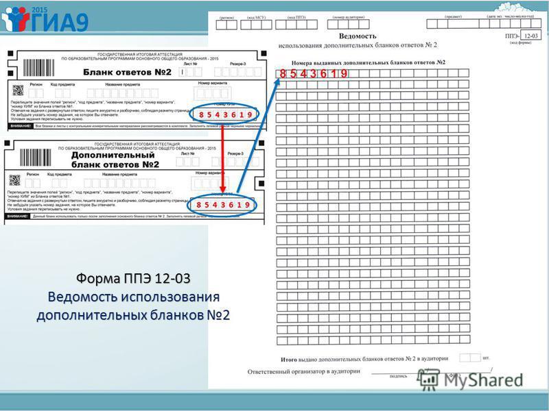 8 5 4 3 6 1 9 Форма ППЭ 12-03 Ведомость использования дополнительных бланков 2