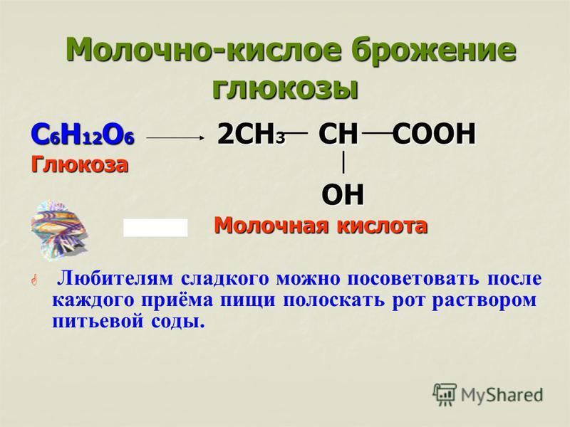 Молочно-кислое брожение глюкозы Молочно-кислое брожение глюкозы С 6 Н 12 О 6 2СН 3 СН СООН Глюкоза ОН ОН Молочная кислота Молочная кислота Любителям сладкого можно посоветовать после каждого приёма пищи полоскать рот раствором питьевой соды.