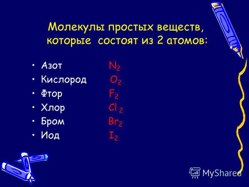 Молекулы простых веществ, которые состоят из 2 атомов: Азот N 2 Кислород О 2 Фтор F 2 Хлор Cl 2 Бром Br 2 Иод I 2