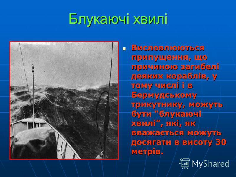 Блукаючі хвилі Висловлюються припущення, що причиною загибелі деяких кораблів, у тому числі і в Бермудському трикутнику, можуть бути блукаючі хвилі, які, як вважається можуть досягати в висоту 30 метрів. Висловлюються припущення, що причиною загибелі