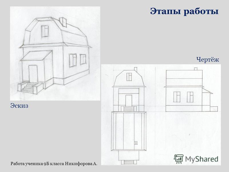 Эскиз Чертёж Этапы работы Работа ученика 9Б класса Никифорова А.
