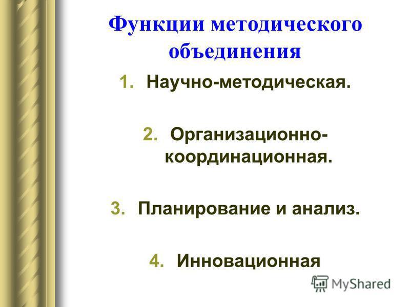 Функции методического объединения 1.Научно-методическая. 2.Организационно- координационная. 3. Планирование и анализ. 4.Инновационная
