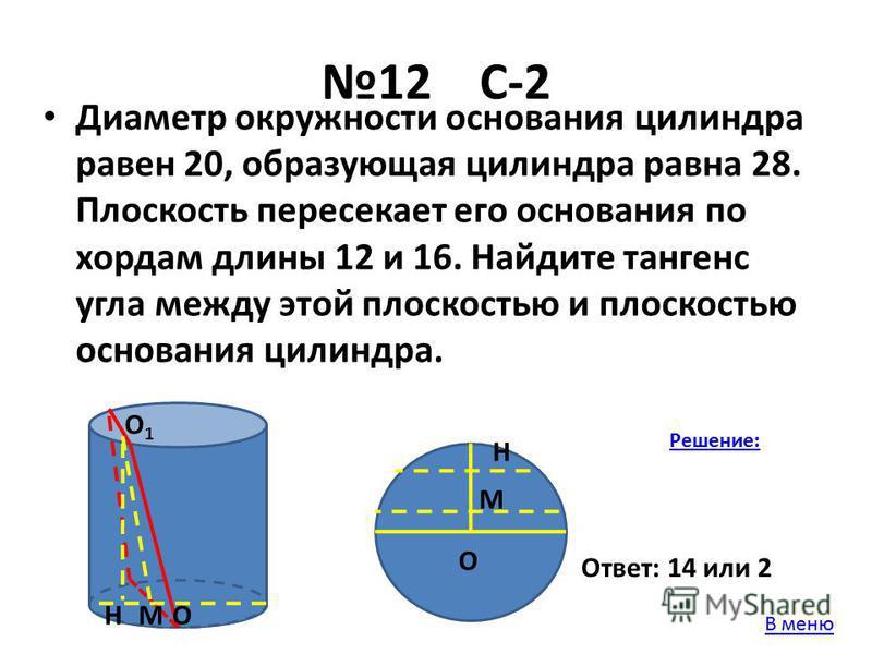 12 С-2 Диаметр окружности основания цилиндра равен 20, образующая цилиндра равна 28. Плоскость пересекает его основания по хордам длины 12 и 16. Найдите тангенс угла между этой плоскостью и плоскостью основания цилиндра. ОН О1О1 М Н М О Решение: Отве