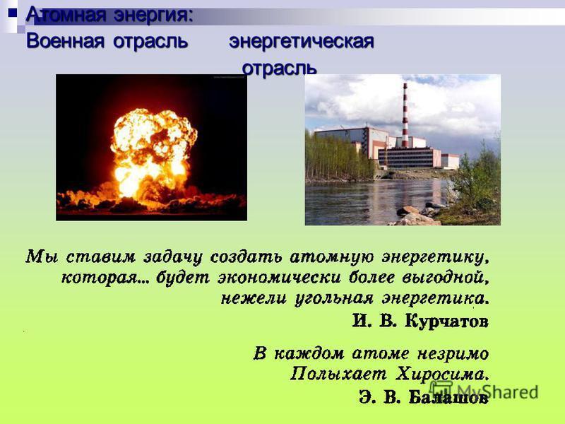Атомная энергия: Военная отрасль энергетическая отрасль отрасль
