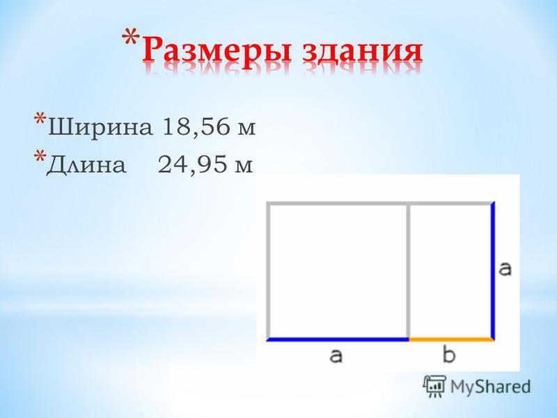 * Ширина 18,56 м * Длина 24,95 м