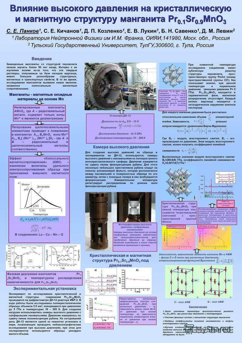 Влияние высокого давления на кристаллическую и магнитную структуру манганита Pr 0.1 Sr 0.9 MnO 3 С. Е. Панков 1, С. Е. Кичанов 1, Д. П. Козленко 1, Е. В. Лукин 1, Б. Н. Савенко 1, Д. М. Левин 2 1 Лаборатория Нейтронной Физики им И.М. Франка, ОИЯИ,141