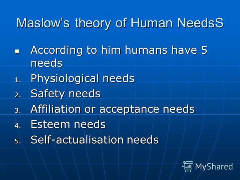 Maslows theory of Human NeedsS According to him humans have 5 needs According to him humans have 5 needs 1. Physiological needs 2. Safety needs 3. Affiliation or acceptance needs 4. Esteem needs 5. Self-actualisation needs