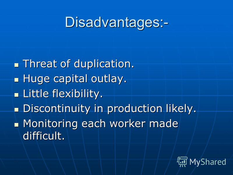 Disadvantages:- Threat of duplication. Threat of duplication. Huge capital outlay. Huge capital outlay. Little flexibility. Little flexibility. Discontinuity in production likely. Discontinuity in production likely. Monitoring each worker made diffic