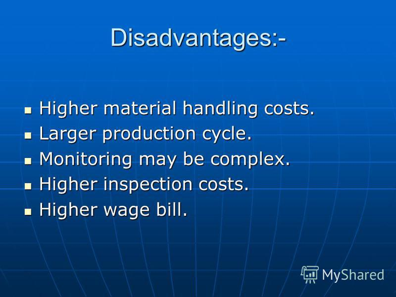 Disadvantages:- Higher material handling costs. Higher material handling costs. Larger production cycle. Larger production cycle. Monitoring may be complex. Monitoring may be complex. Higher inspection costs. Higher inspection costs. Higher wage bill
