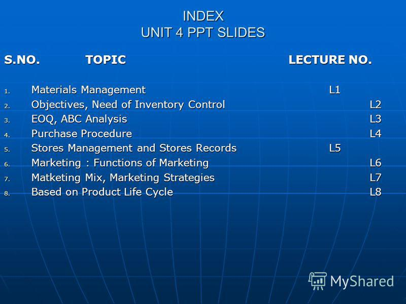 INDEX UNIT 4 PPT SLIDES S.NO. TOPIC LECTURE NO. 1. Materials ManagementL1 2. Objectives, Need of Inventory ControlL2 3. EOQ, ABC AnalysisL3 4. Purchase ProcedureL4 5. Stores Management and Stores RecordsL5 6. Marketing : Functions of MarketingL6 7. M