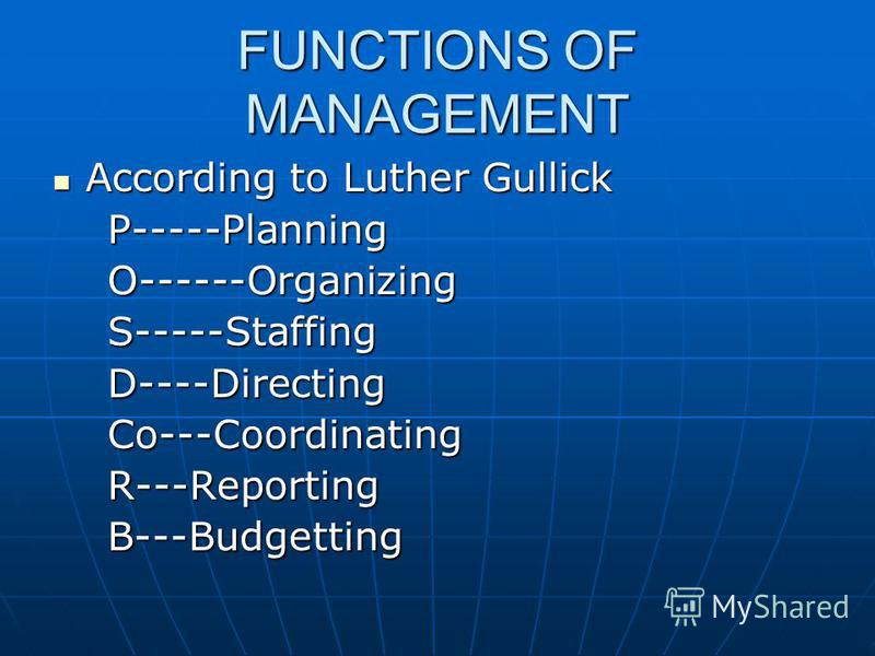 FUNCTIONS OF MANAGEMENT According to Luther Gullick According to Luther Gullick P-----Planning P-----Planning O------Organizing O------Organizing S-----Staffing S-----Staffing D----Directing D----Directing Co---Coordinating Co---Coordinating R---Repo