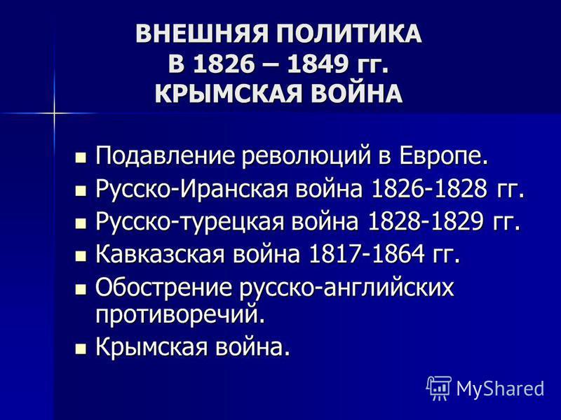 ВНЕШНЯЯ ПОЛИТИКА В 1826 – 1849 гг. КРЫМСКАЯ ВОЙНА Подавление революций в Европе. Подавление революций в Европе. Русско-Иранская война 1826-1828 гг. Русско-Иранская война 1826-1828 гг. Русско-турецкая война 1828-1829 гг. Русско-турецкая война 1828-182