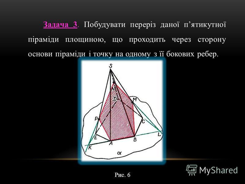 Задача 3. Побудувати переріз даної пятикутної піраміди площиною, що проходить через сторону основи піраміди і точку на одному з її бокових ребер. Рис. 6