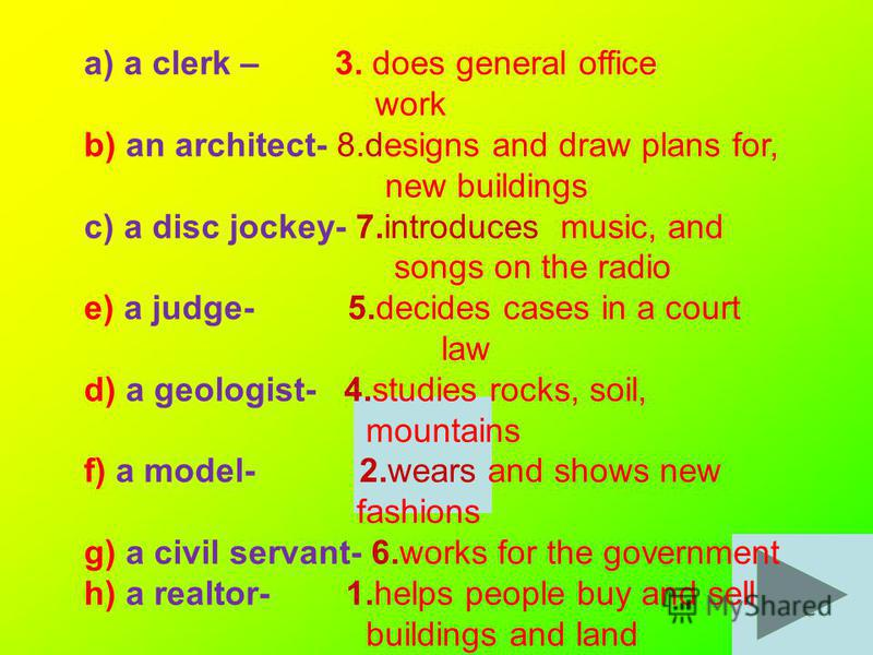 a) a clerk – 3. does general office work b) an architect- 8.designs and draw plans for, new buildings c) a disc jockey- 7.introduces music, and songs on the radio e) a judge- 5.decides cases in a court law d) a geologist- 4.studies rocks, soil, mount