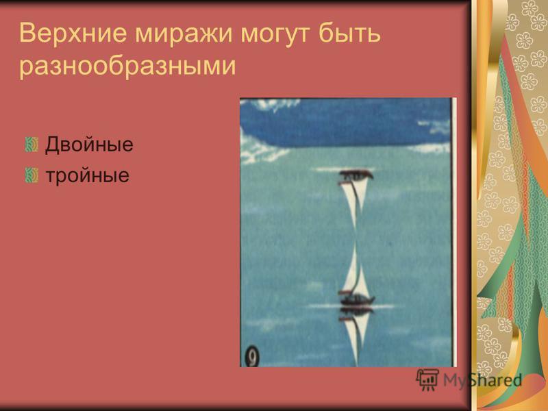 Виды миражей Нижние («озерные») миражи возникают над сильно нагретой поверхностью