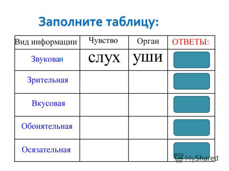 Заполните таблицу : я