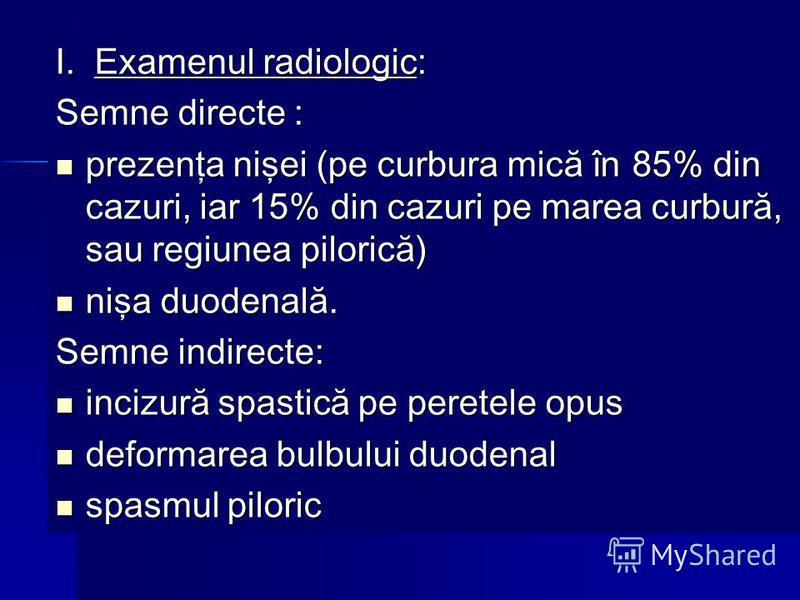 I. Examenul radiologic: Semne directe : prezenţa nişei (pe curbura mică în 85% din cazuri, iar 15% din cazuri pe marea curbură, sau regiunea pilorică) prezenţa nişei (pe curbura mică în 85% din cazuri, iar 15% din cazuri pe marea curbură, sau regiune