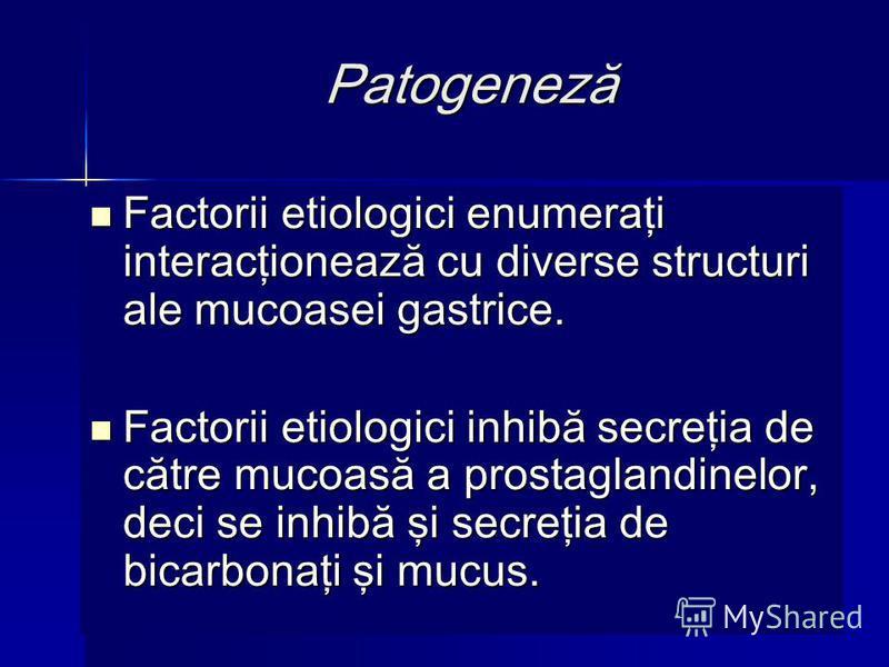 Patogeneză Factorii etiologici enumeraţi interacţionează cu diverse structuri ale mucoasei gastrice. Factorii etiologici enumeraţi interacţionează cu diverse structuri ale mucoasei gastrice. Factorii etiologici inhibă secreţia de către mucoasă a pros