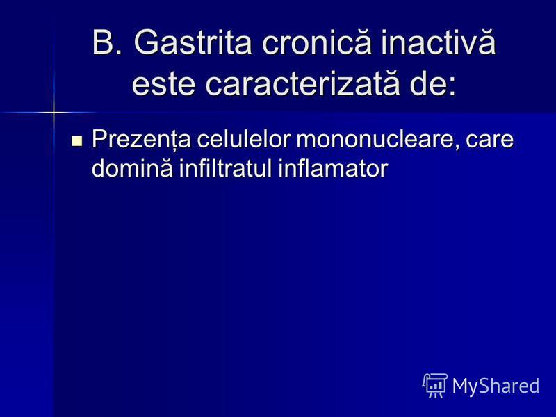 B. Gastrita cronică inactivă este caracterizată de: Prezenţa celulelor mononucleare, care domină infiltratul inflamator Prezenţa celulelor mononucleare, care domină infiltratul inflamator