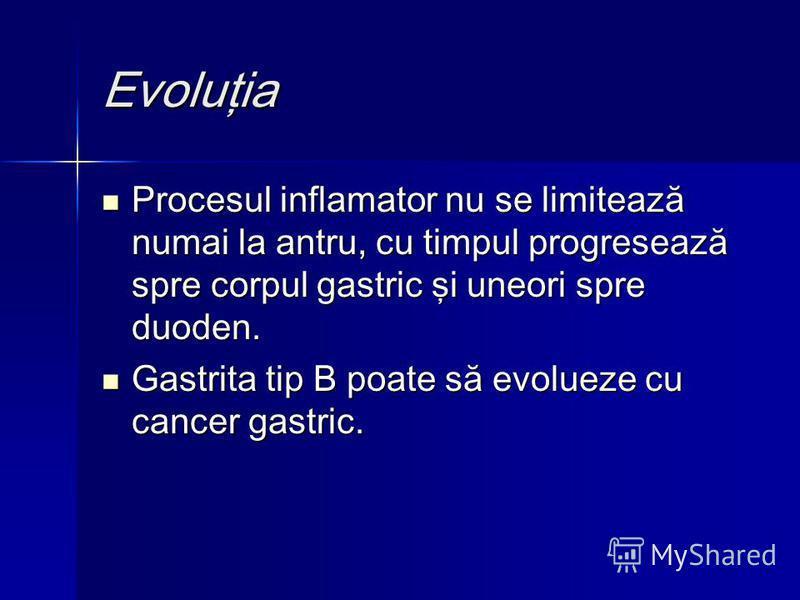 Evoluţia Procesul inflamator nu se limitează numai la antru, cu timpul progresează spre corpul gastric şi uneori spre duoden. Procesul inflamator nu se limitează numai la antru, cu timpul progresează spre corpul gastric şi uneori spre duoden. Gastrit