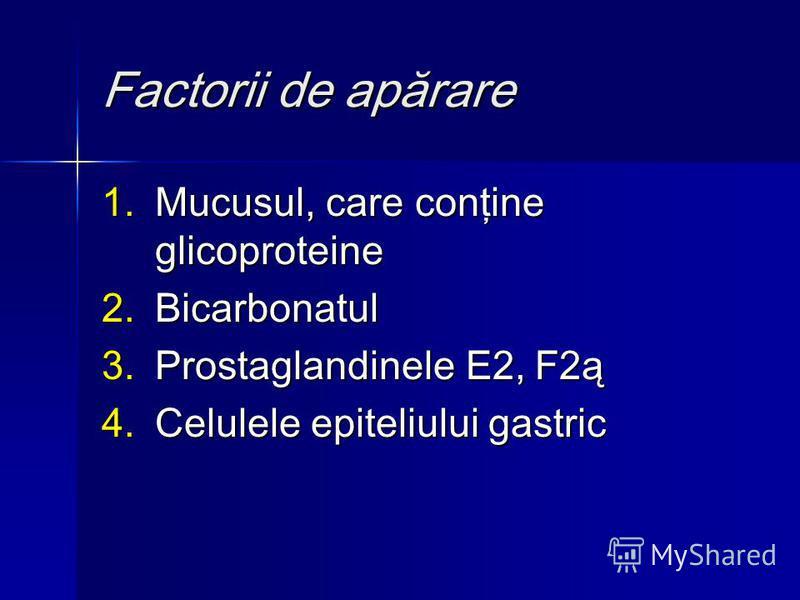 Factorii de apărare 1.Mucusul, care conţine glicoproteine 2.Bicarbonatul 3.Prostaglandinele E2, F2ą 4.Celulele epiteliului gastric