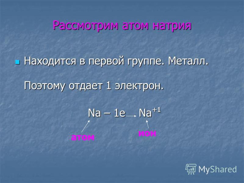Рассмотрим атом натрия Находится в первой группе. Металл. Поэтому отдает 1 электрон. Находится в первой группе. Металл. Поэтому отдает 1 электрон. Na – 1e Na +1 атом ион