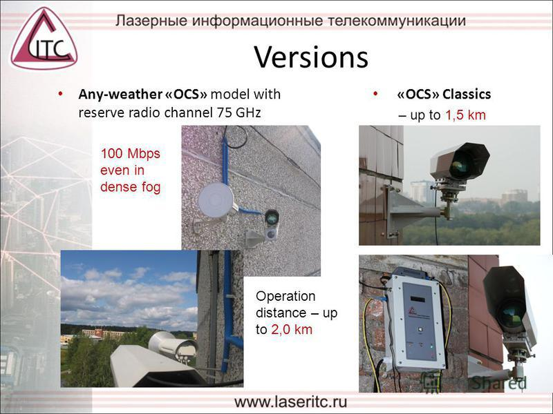 Versions Any-weather «OCS» model with reserve radio channel 75 GHz Operation distance – up to 2,0 km 100 Mbps even in dense fog «OCS» Classics – up to 1,5 km