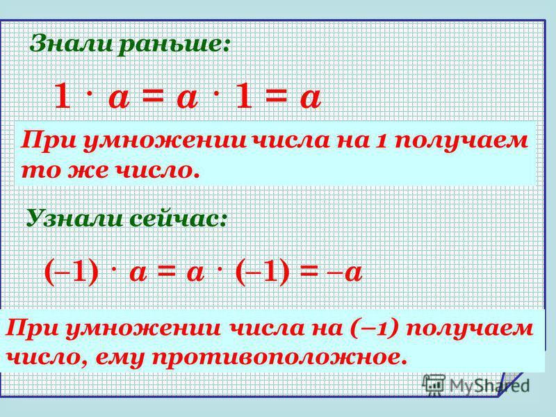(–1) · a = a · (–1) = – a 1 · a = a · 1 = a При умножении числа на 1 получаем то же число. При умножении числа на (–1) получаем число, ему противоположное. Знали раньше: Узнали сейчас: