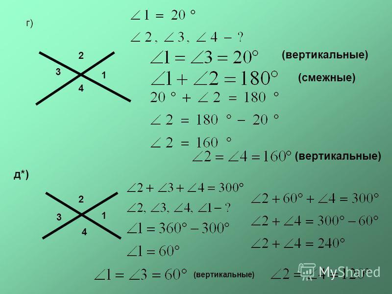 г) 1 2 3 4 (вертикальные) (смежные) (вертикальные) д*) 1 2 3 4 (вертикальные)
