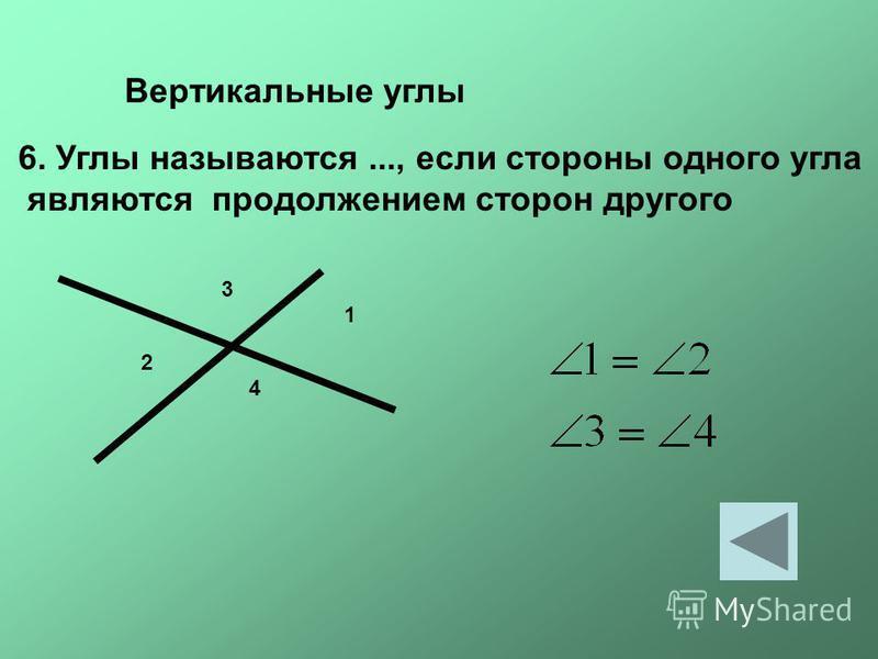 Вертикальные углы 6. Углы называются..., если стороны одного угла являются продолжением сторон другого 1 2 3 4