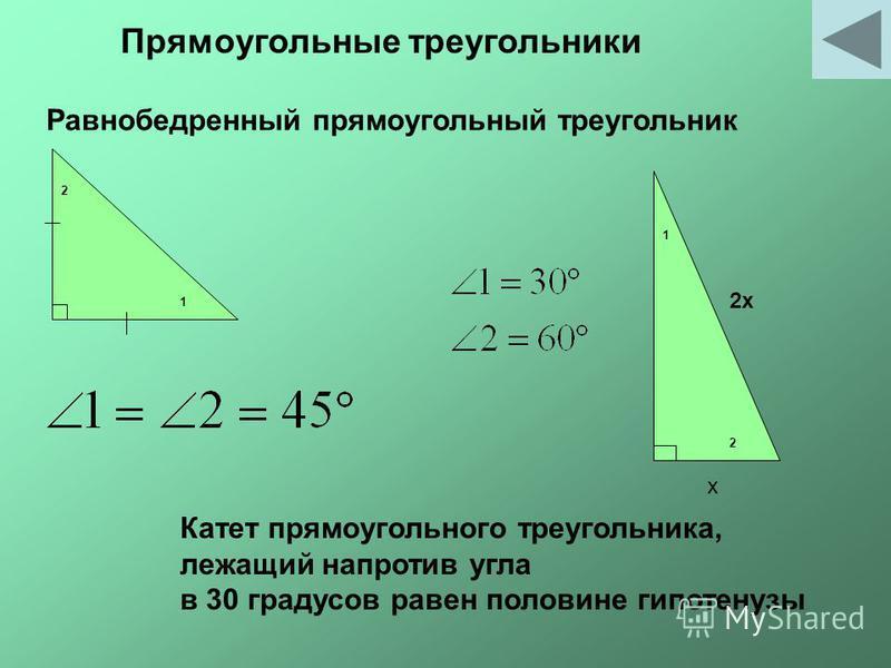 Равнобедренный прямоугольный треугольник 1 1 2 2 х 2 х Катет прямоугольного треугольника, лежащий напротив угла в 30 градусов равен половине гипотенузы Прямоугольные треугольники