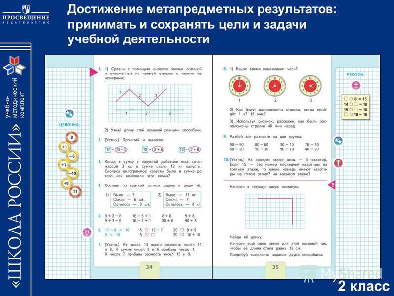 учебно- методический комплект Достижение метапредметных результатов: принимать и сохранять цели и задачи учебной деятельности 2 класс