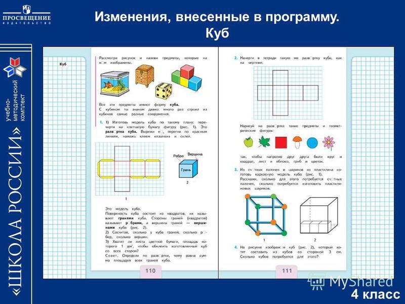 учебно- методический комплект Изменения, внесенные в программу. Куб 4 класс