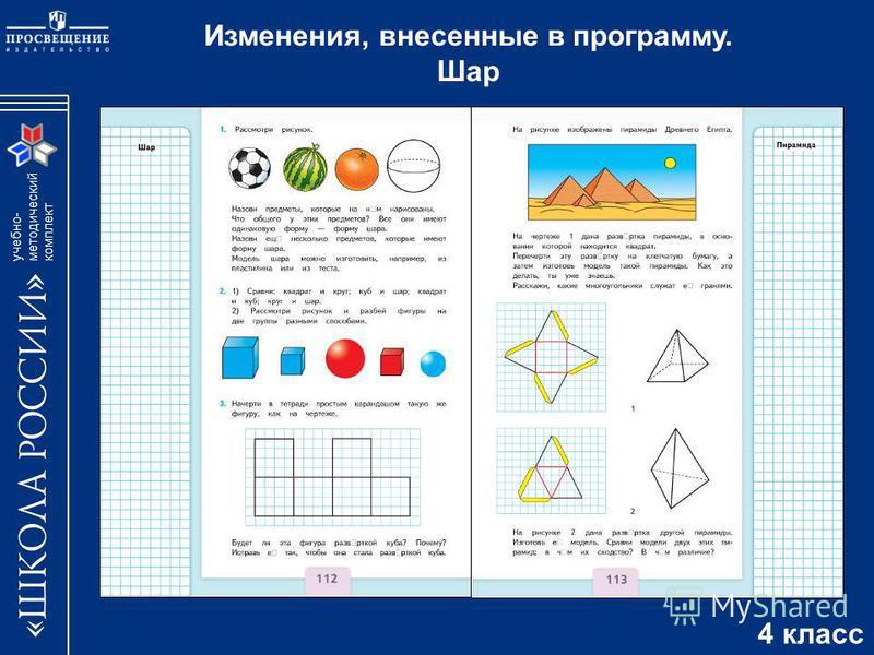 учебно- методический комплект Изменения, внесенные в программу. Шар 4 класс
