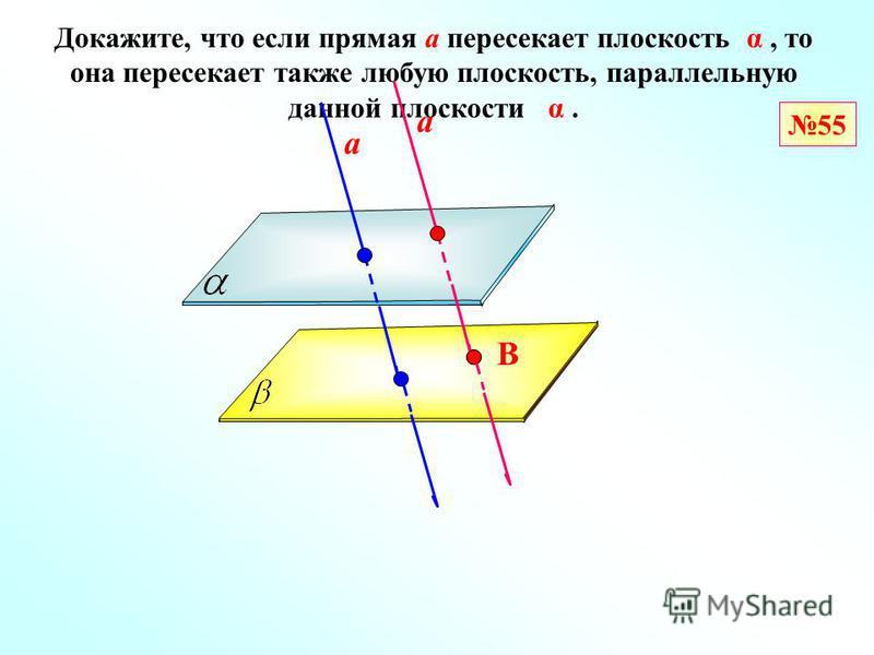 55 Докажите, что если прямая а пересекает плоскость α, то она пересекает также любую плоскость, параллельную данной плоскости α. а В