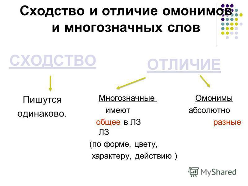Сходство и отличие омонимов и многозначных слов СХОДСТВО Пишутся одинаково. ОТЛИЧИЕ Многозначные Омонимы имеют абсолютно общее в ЛЗ разные ЛЗ (по форме, цвету, характеру, действию )