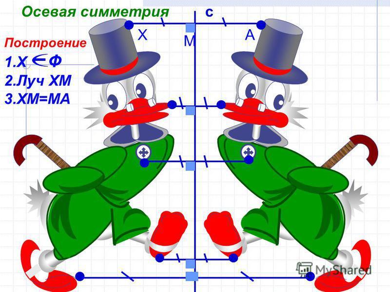 c Построение 1. Х Ф 2. Луч ХМ 3.ХМ=МА А М Х