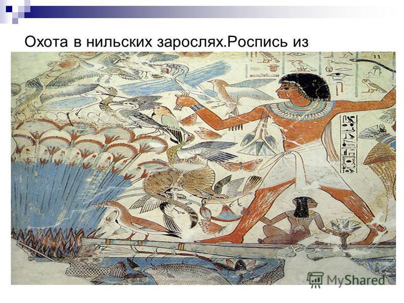 Охота в нильских зарослях.Роспись из гробницы в Фивах. ХV -ХIV вв. до н.э.