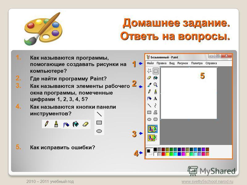 www.svetly5school.narod.ru 2010 – 2011 учебный год Домашнее задание. Ответь на вопросы. 1. Как называются программы, помогающие создавать рисунки на компьютере? 2. Где найти программу Paint? 3. Как называются элементы рабочего окна программы, помечен