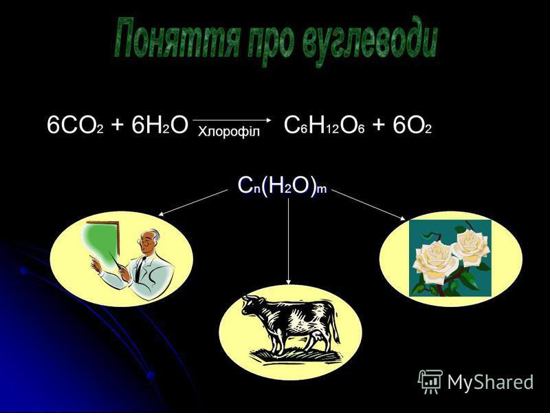 6СO 2 + 6H 2 O C 6 H 12 O 6 + 6O 2 Хлорофіл Сn(Н2O)m