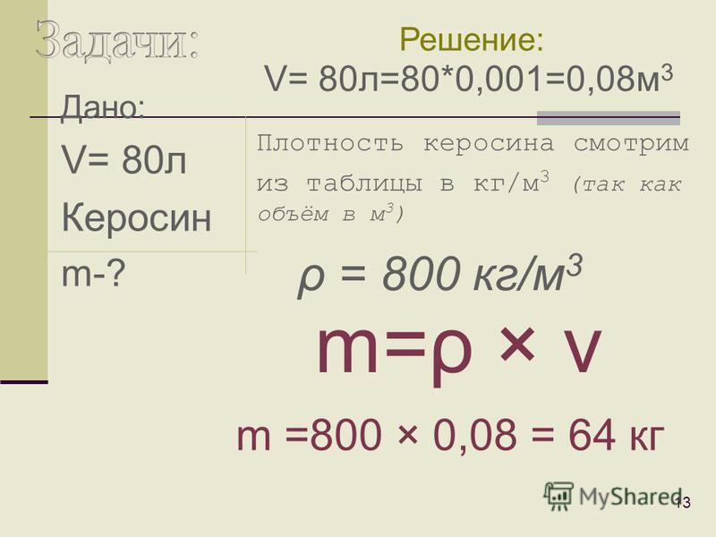Дано: V= 10 м 3 Свинец m-? 12 Плотность свинца смотрим из таблицы в кг/м 3 (так как объём в м 3 ) m=ρ × v m =11300 × 10 = 113000 кг = 113 т Решение: ρ = 11300 кг/м 3