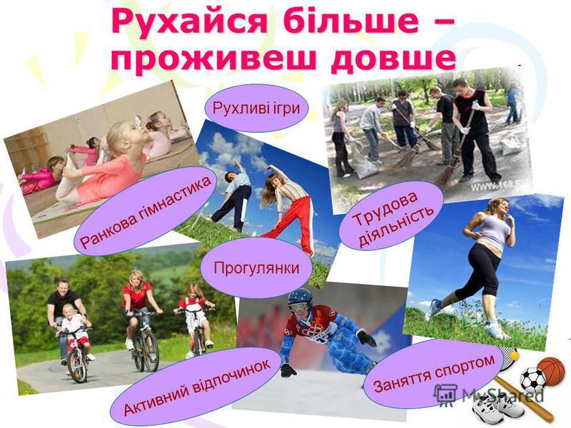 Рухайся більше – проживеш довше Ранкова гімнастика Заняття спортом Активний відпочинок Рухливі ігри Прогулянки Трудова діяльність